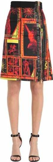 Printed Silk Twill Mini Skirt