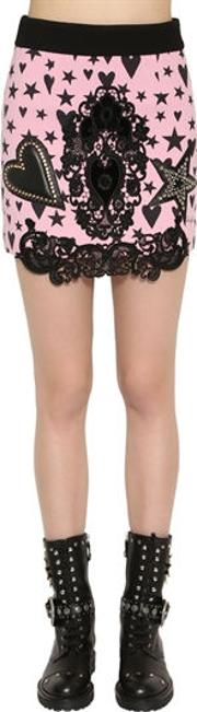 Wool Crepe Mini Skirt W Lace & Leather