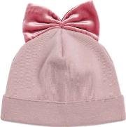 Ribbed Wool Hat With Velvet Bow