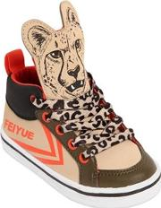 Leopard Print Faux Leather Sneakers