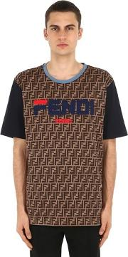Fendi Mania Cotton Jersey T Shirt