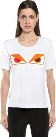 Monster Eyes Patch Cotton Jersey T Shirt