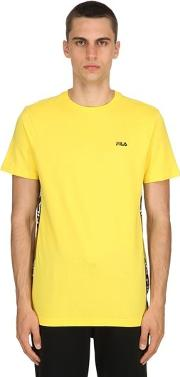 Cotton Jersey T Shirt W Logo Side Bands