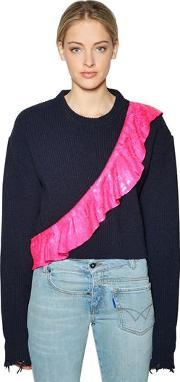 Sequined Ruffle Cropped Wool Sweater