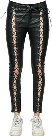 Skinny Lace Up Leather Pants