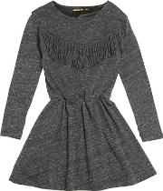 Cotton Jersey Dress W Fringe