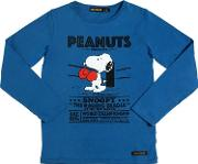 Snoopy Printed Cotton Jersey T Shirt