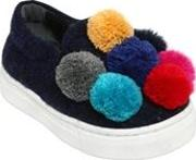 Wool Felt Slip On Sneakers W Pompoms