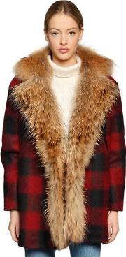 Aspen Fur & Check Wool Blend Coat
