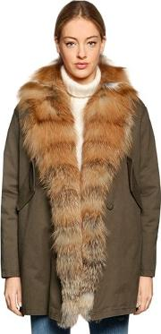Bella Red Fox Fur & Cotton Canvas Coat