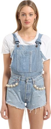 Embellished Cotton Denim Overalls