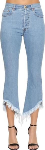 Flared Cropped Denim Jeans