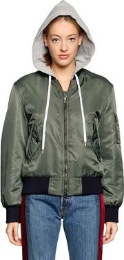 Hooded Nylon Bomber Jacket
