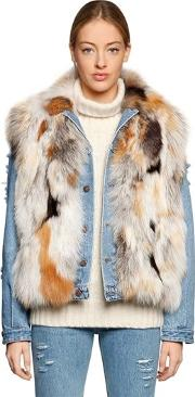 Le Bon Fox Fur Vest & Denim Jacket