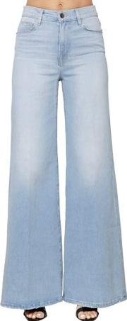 High Rise Wide Leg Cotton Denim Jeans