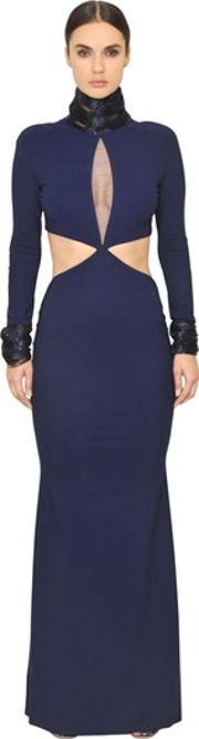 Embroidered Cut Out Techno Jersey Gown