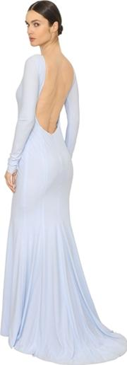 Lurex Embroidered Techno Jersey Gown