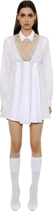 Embroidered Muslin Dress W Lace Insert
