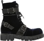 30mm Buckle Velvet & Leather Ankle Boots