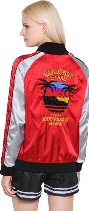 Coconut Embroidered Satin Bomber Jacket