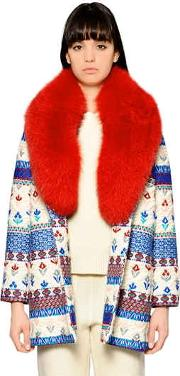 Embroidered Wool Blend & Fur Coat