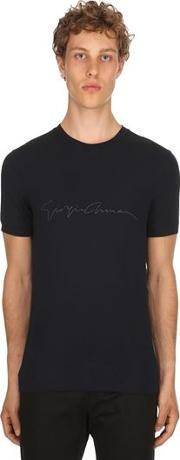 Flocked Signature Stretch Jersey T Shirt