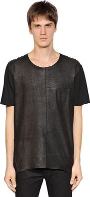 Leather & Jersey T Shirt W Pocket