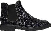 Glittered Chelsea Boots With Zipper Trim