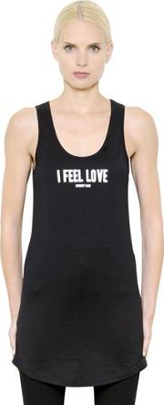 I Feel Love Print Cotton Jersey Tank Top