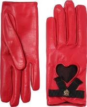 Leather Gloves W Bow & Cat Detail