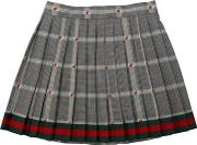 Pleated Wool Blend Prince Of Wales Skirt