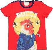 Rooster Printed Cotton Jersey T Shirt