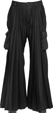 Pleated Flared Cargo Pants