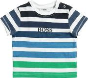 Stripes Printed Cotton Jersey T Shirt