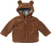 Bear Hooded Zip Up Plush Jacket