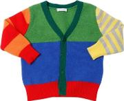 Color Blocked Wool Knit Cardigan