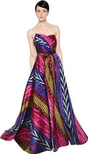 Abstract Striped Jacquard Gown