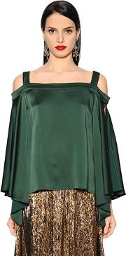 Cold Shoulder Satin Blouse