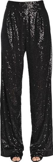 Flared Sequined Tulle Pants