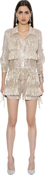 Ruffled Silk Muslin Lame Romper