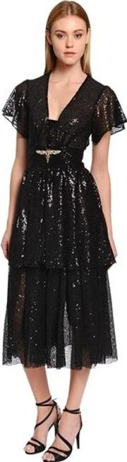 Sequined Midi Dress W Crystal Dragonfly