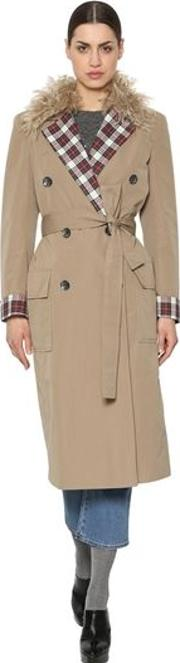Canvas Trench Coat W Mohair & Plaid