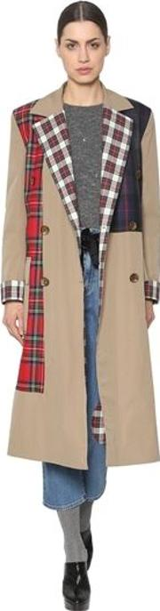Cotton Canvas & Wool Plaid Trench Coat