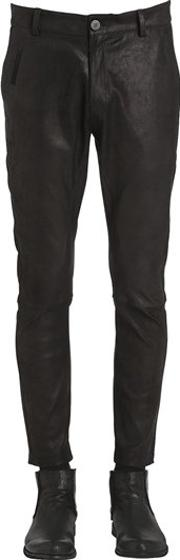 Stretch Leather Tight Pants