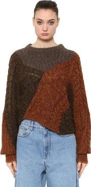Patchwork Wool Knit Sweater