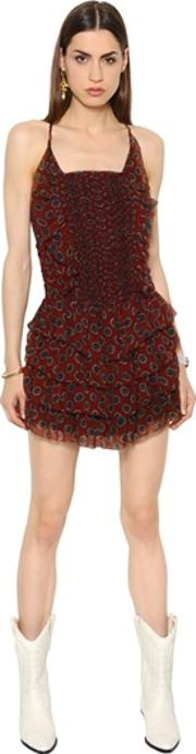 Ruffled Printed Silk Crepon Dress