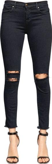 Destroyed Ankle Mid Rise Skinny Jeans