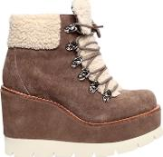 80mm Fowler Suede & Faux Shearling Boots