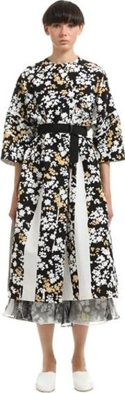 Floral Printed Cotton Canvas Coat