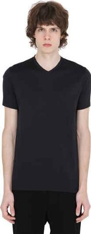 V Neck Mercerized Cotton T Shirt